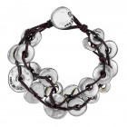 Stunning silver bracelet with tubes and leather border