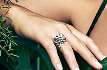Leaf Silver Ring - Crystal Bead