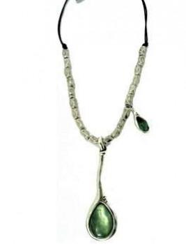Halskette 2 Kunstharz Steine
