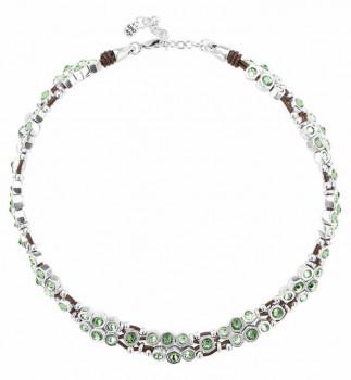 Grüne Kristall Lederhalskette  - Honey Moon