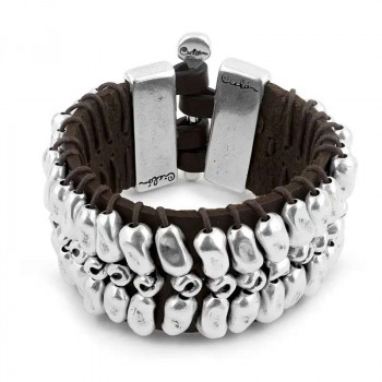 Wide Leather Bracelet - Cosmos