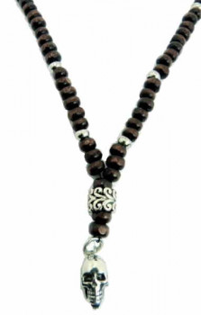 Wooden Beaded Necklace - Skull Pendant