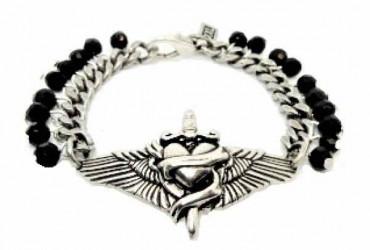 Snake and Heart Silver Bracelet