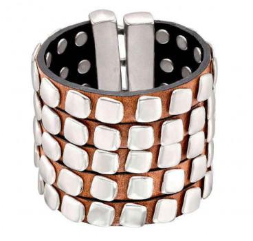 Wide Studs Leather Bracelet - Atontacha