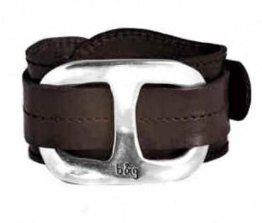 Leder Manschetten Armband mit Silber Applikation