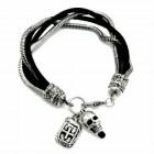 Leather Bracelet Skull Pendant