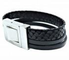 Black snake leather bracelet