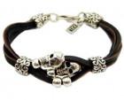Layered Leather Bracelet with Skulls