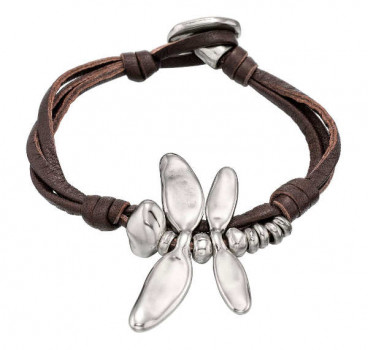 Dragonfly Brown Leather Bracelet - Circulando