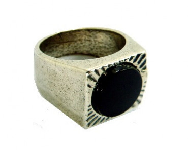 Squared Ring with a black resin bulls eye in the center