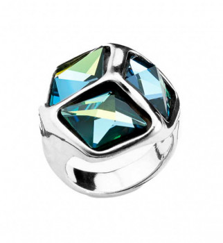 A 541 - Cube Ring with 3 Shiny Swarovski crystals