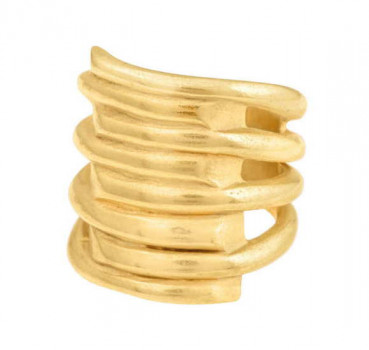 Wide Gold Spiral Ring - Tornado