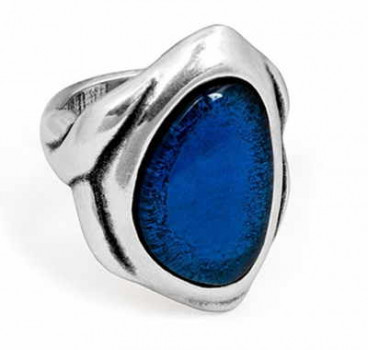 Silver Ring Blue Crystal - Panax