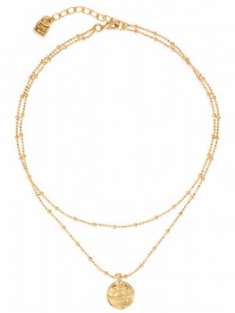 Double Strand Gold Necklace - Navy