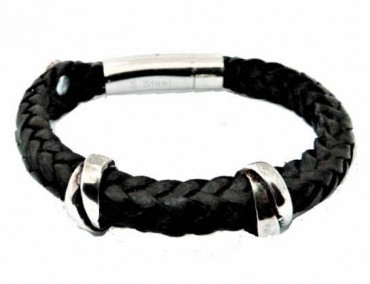 Braided leather Bracelet with separators and clasp of acier inoxydable