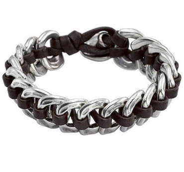 Silver Chain Braclet with Leather - Seduce Me