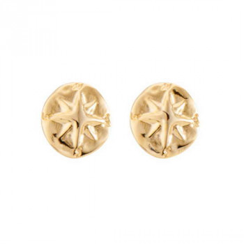 Round Compass Earrings Gold