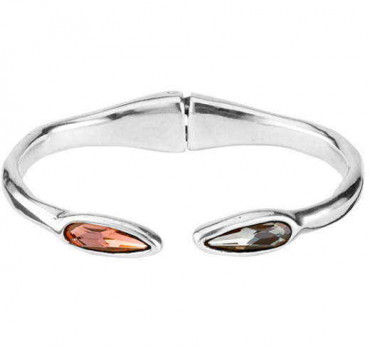P1755 - Open Silver Bangle 2 Crystals