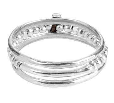 Slip Over Silver Bangle - Another Round