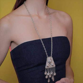 Long Silver Pendant - Acteca