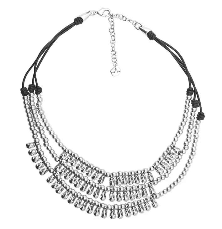 Three Strand Silver Beaded Necklace