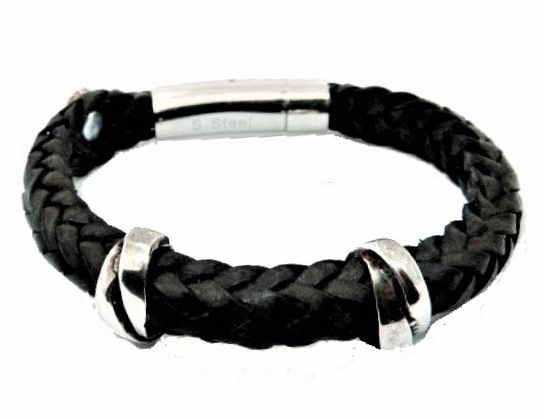 S383 Cool Double Wrap tressé simple cuir bracelet bracelet manchette Café Marron