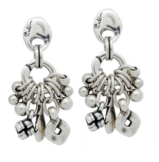 Silver Hoop Earrings With Leaf Shaped Pendants