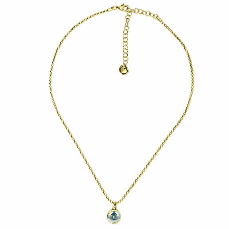 c33fe34d2015 Gold necklace turquoise crystal pendant