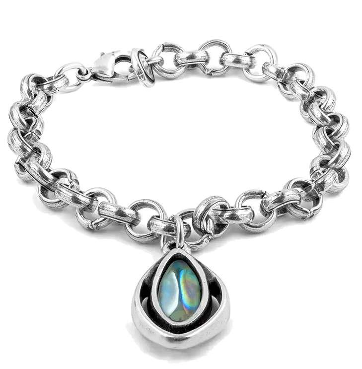 Colorful oval crystal pendant chain bracelet silver chain bracelet oval pendant aloadofball Gallery