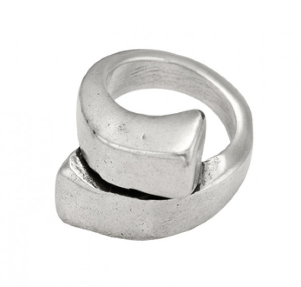 Overlap spiral silver ring