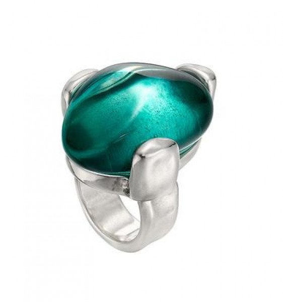 Big Silver Ring turquoise resin stone