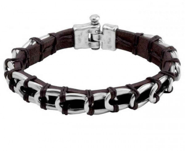 Unisex silver chain link bracelet with leather