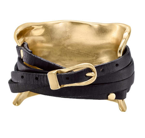 Gold-plated leather wrap cuff bracelet