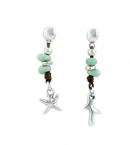 Starfish Earrings Green Crystals
