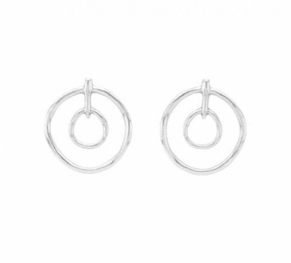 Double Hoop Silver Earrings | UNOde50