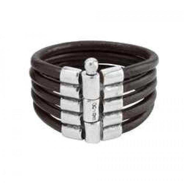 Five Strand Black Leather Bracelet